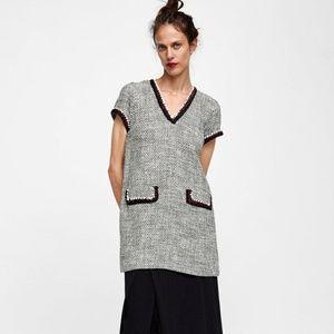 Just In⌚Zara Tweed V-neck Dress